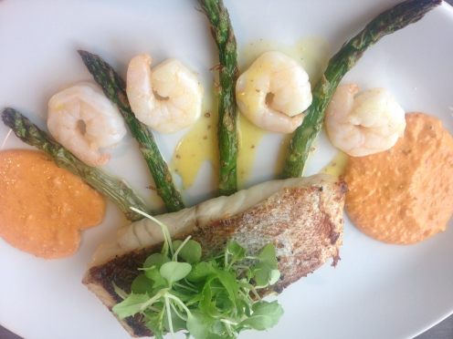 prawns and coley fillet at Waterfront Fish House