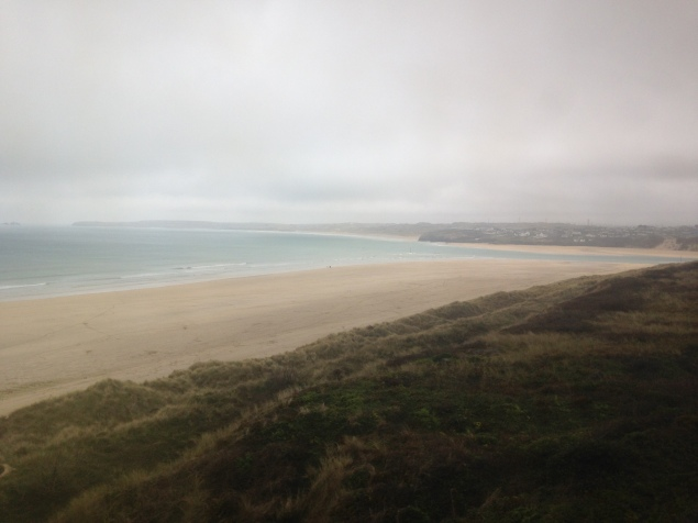 view from the train as I left St. Ives - look at all that empty off-season beach...